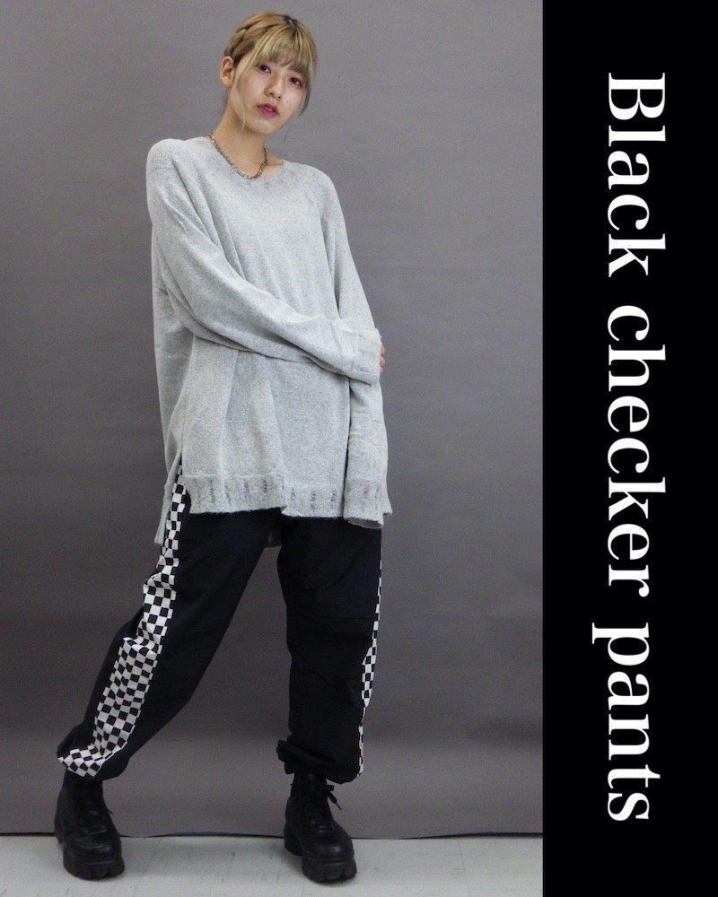 「NINE NUTS」Black checker pants コーデイメージ(1)