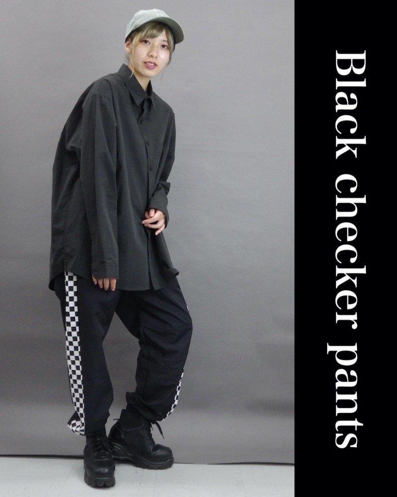 「NINE NUTS」Black checker pants コーデイメージ(4)