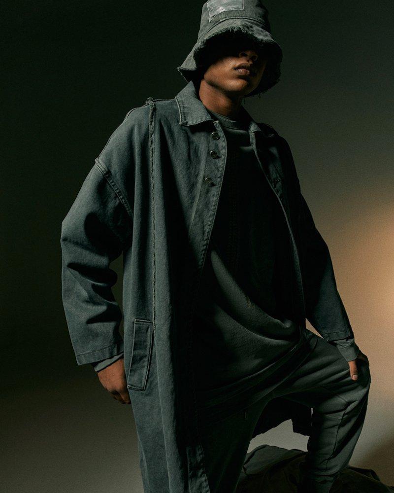 オーバーサイズ&ストリート『Re:one Online Store』【先行予約商品】「OVERR」PIGMENT KHAKI DENIM LONG COAT
