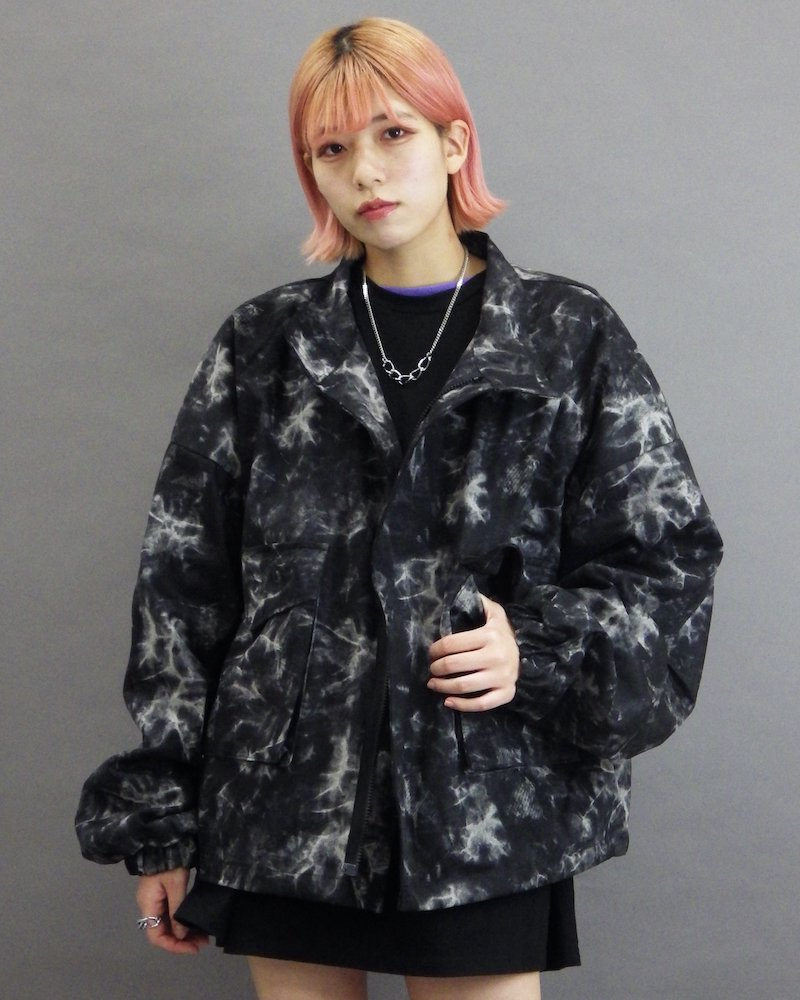 オーバーサイズ&ストリート『Re:one Online Store』「NINE NUTS」Tie-dye black blouson