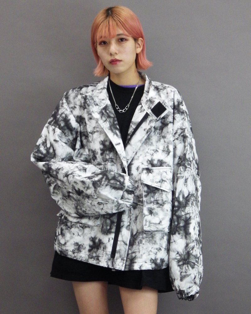 オーバーサイズ&ストリート『Re:one Online Store』「NINE NUTS」Tie-dye white blouson