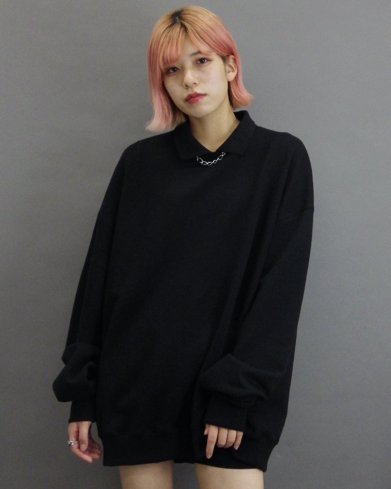オーバーサイズ&ストリート『Re:one Online Store』「1:24」Collar black sweatshirt