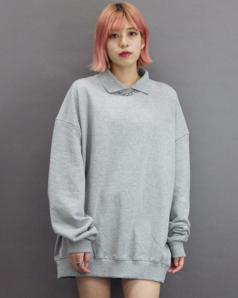 オーバーサイズ&ストリート『Re:one Online Store』「1:24」Collar gray sweatshirt