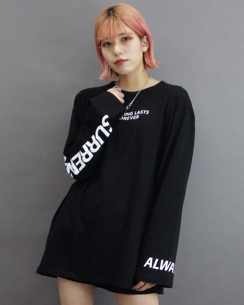 オーバーサイズ&ストリート『Re:one Online Store』「CAMP」Nothing lasts forever black cut and sew