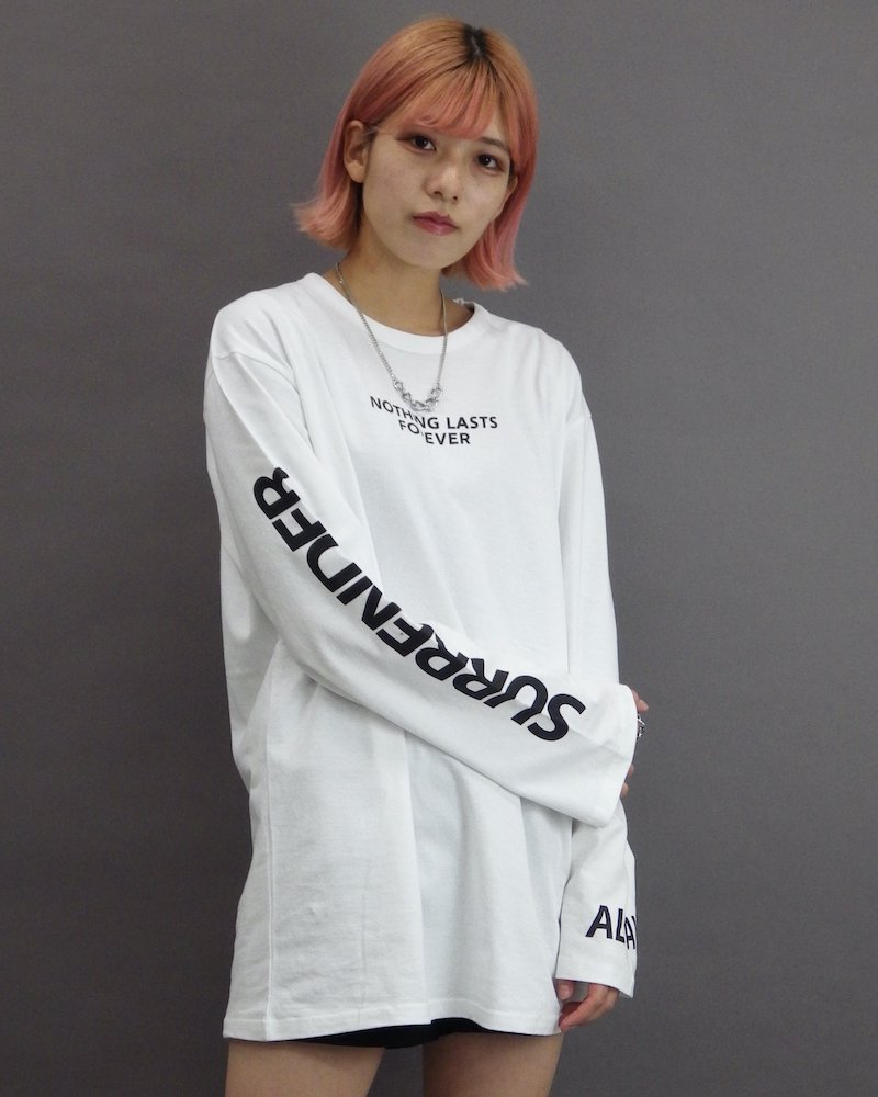オーバーサイズ&ストリート『Re:one Online Store』「CAMP」Nothing lasts forever white cut and sew