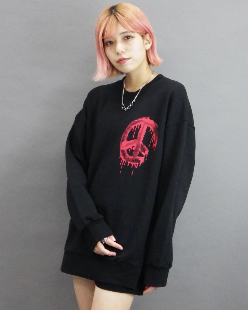 オーバーサイズ&ストリート『Re:one Online Store』「CAMP」Call for peace black sweatshirt
