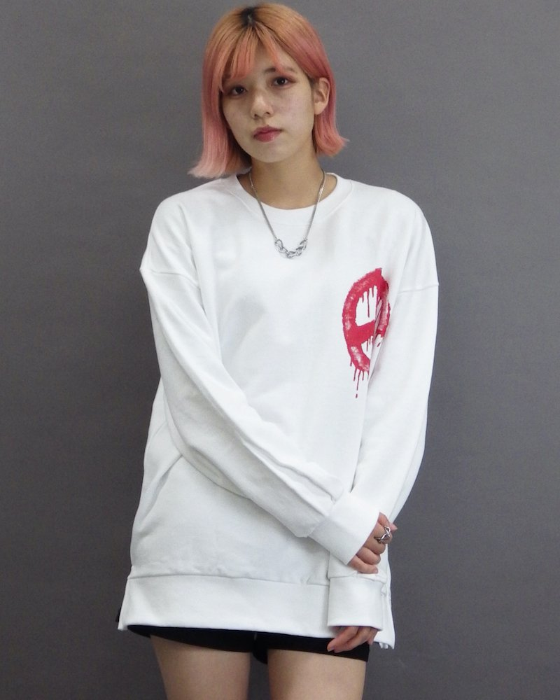 オーバーサイズ&ストリート『Re:one Online Store』「CAMP」Call for peace white sweatshirt