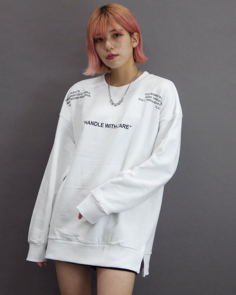 オーバーサイズ&ストリート『Re:one Online Store』「CAMP」Laundry symbol white sweatshirt