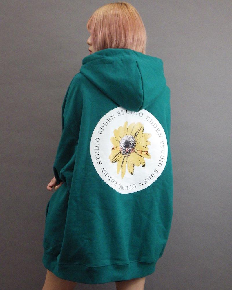 オーバーサイズ&ストリート『Re:one Online Store』「EDDEN」Flower print over green hoodie
