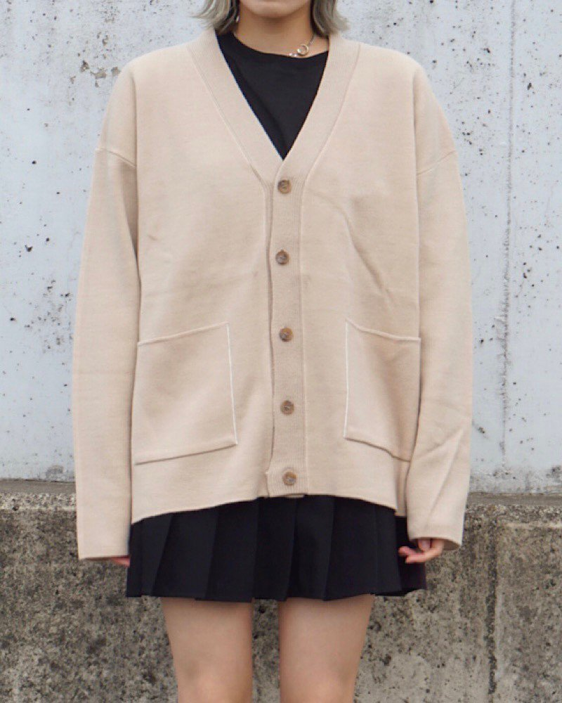 【And More】Basic beige cardigan-BEIGE-