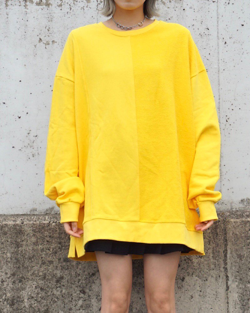 「EDDEN」PILE SWITCHING  YELLOW BIG SWEAT