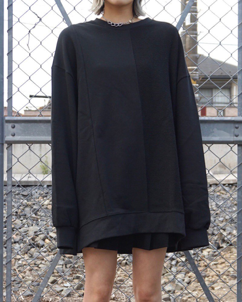 「EDDEN」PILE SWITCHIG  BLACK BIG SWEAT