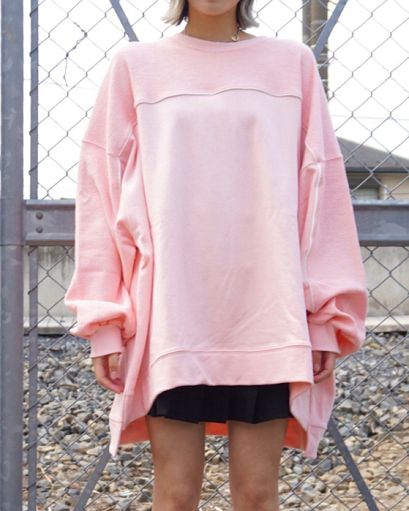 「EDDEN」SWITCHING PINK SWEAT