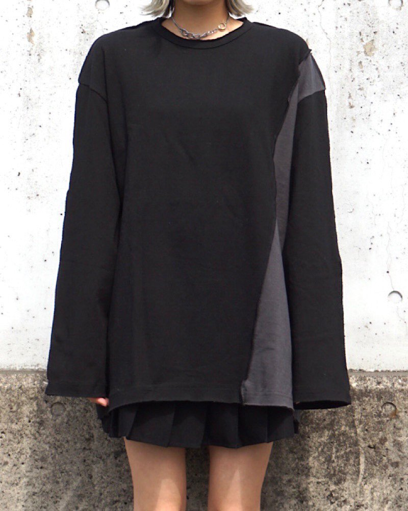 【PEACE】PATCH L/S CUTSEW -BLACK-