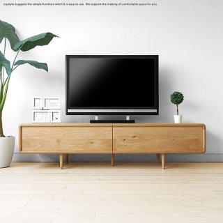 丸みのあるテレビボード ローボード テレビ台 受注生産商品 幅180cm 扉を閉めたままデッキのリモコン操作ができる木扉 北欧家具