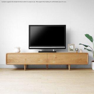 受注生産商品 幅200cm ナラ材 ナラ天然木 扉を閉めたままデッキのリモコン操作ができる木扉 北欧家具 丸みのあるテレビボード ローボード テレビ台 ウォールナット材でもオーダー可能
