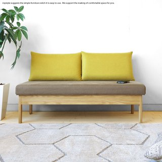 受注生産商品 幅140cm タモ材 タモ無垢材の木製フレームのカバーリングソファー 国産ソファ 木製ソファ 2Pソファ LDソファ ツートンカラー バイカラー
