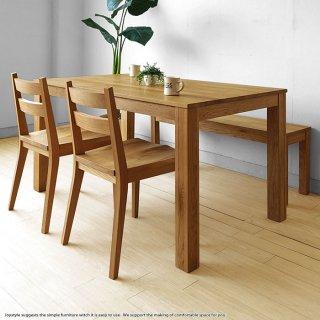 ダイニングテーブル 幅135cm ナラ材 ナラ無垢材の小さな部材をパッチワークのように継ぎ合わせたアンティーク風