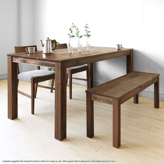 ダイニングテーブル 幅135cm ウォールナット材 ウォールナット無垢材の小さな部材をパッチワークのように継ぎ合わせたアンティーク風
