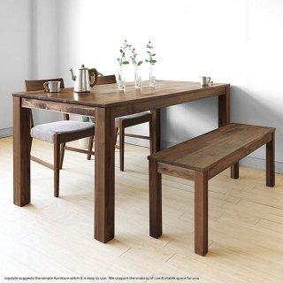 ダイニングテーブル 160cm ウォールナット材 ウォールナット無垢材の小さな部材をパッチワークのように継ぎ合わせたアンティーク風
