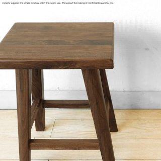 ウォールナット材 ウォールナット無垢材 木製椅子 シンプルでコンパクトなスツール 四角タイプ
