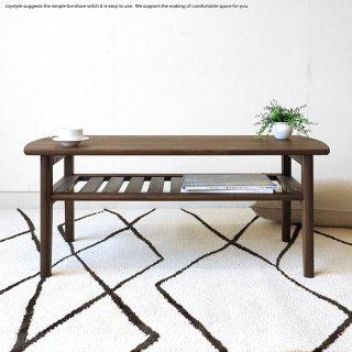 リビングテーブル ウォールナット色 幅102cm アルダー材 アルダー無垢材 木製 収納棚付きローテーブル 北欧 ミッドセンチュリー