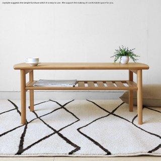 リビングテーブル ナチュラル色 幅102cm アルダー材 アルダー無垢材 木製 収納棚付きローテーブル 北欧 センターテーブル オイル仕上げ