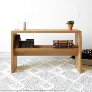 受注生産商品 5種類の木材から素材が選べるカスタムオーダーテーブル タモ材 タモ無垢材 木製ローテーブル 本棚付き 棚板付き リビングテーブル サイドテーブル ナチュラル