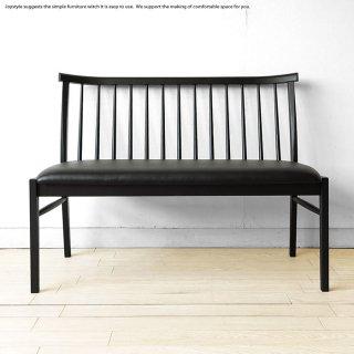 受注生産商品 エレガント ダイニングベンチ ベンチチェア 長椅子 ブラック 木製 国産 日本製 レザーチェア レッドオーク無垢材 モノト−ン カントリーモダン