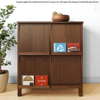 ブックシェルフ ディスプレイラック チェスト 幅77cm ウォールナット材 ウォールナット無垢材 天然木 木製本棚 シンプルモダンデザイン オフィス家具