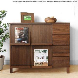 ブックシェルフ ディスプレイラック チェスト 幅106cm ウォールナット材 ウォールナット無垢材 天然木 木製本棚