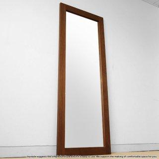 幅62cm高さ170cm ウォールナット突板 シンプルなスタイルのウォールミラー スタンドミラー 木枠の立て掛けミラー 立て掛け鏡 姿見