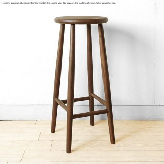 ハイスツール カウンタースツール カウンターチェア ウォールナット無垢材【2個まで送料一律】ウォールナット材 直径28cm 丸い板座  木製椅子 ナチュラルテイスト