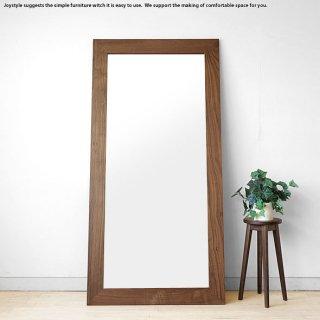 幅89cm 高さ180cm ウォールナット材 ウォールナット無垢材 シンプルなスタイルのウォールミラー 立掛けミラー 木枠の壁掛け鏡 姿見