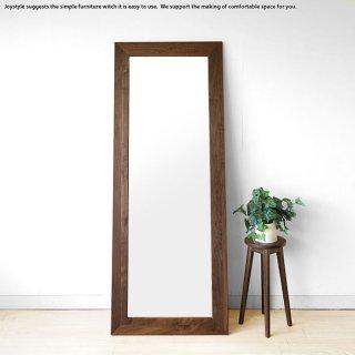 幅69cm 高さ180cm ウォールナット材 ウォールナット無垢材 シンプルなスタイルのウォールミラー 立掛けミラー 木枠の壁掛け鏡 姿見