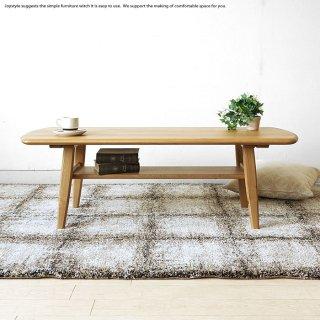ローテーブル センターテーブル リビングテーブル 幅120cm 節有材 ホワイトオーク材 ホワイトオーク無垢材 棚付き 角が丸い 北欧モダン