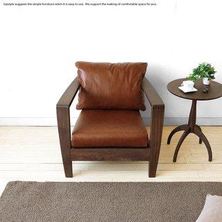 パーソナルソファ 1Pソファー 1人掛けソファー 良いウォールナット無垢材の高級感がが魅力の両肘ソファー 肘付きの椅子 ラウンジチェア 革張り レザー