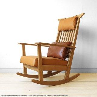 ナラ無垢材を贅沢に使用したロッキングチェア ナラ材 ナラ天然木 節あり材使用 カバーリングタイプのレザークッション付きチェア 木製椅子 ロッキングチェア