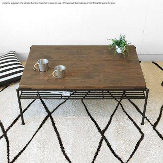 センターテーブル ローテーブル 木製 幅93cm パイン無垢材 ブラックアイアン ビンテージ レトロ アンティーク