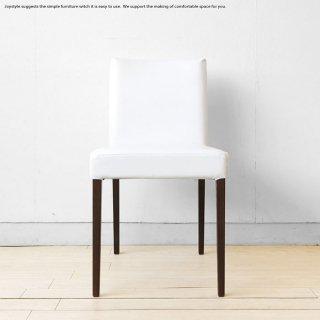 ダイニングチェア タモ材 ブラウン色 シックモダン 椅子 レザー張り ホワイトレザー