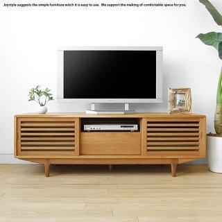 幅150cm ナラ材 ナラ無垢材を贅沢に使用したオイル仕上げの木製テレビ台 スライド扉 和モダンな格子扉がオシャレなテレビボード