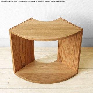 サイドテーブル 受注生産商品 レッドオーク材 レッドオーク無垢材 扇形のユニークなデザイン ミドルサイズ ハイサイズ ウォールナット材 ブラックチェリー材