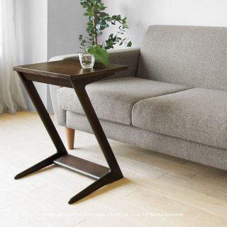 サイドテーブル 幅60cm ナラ無垢材 リビングで寛ぎながらノートパソコンをしたりライフスタイルに合わせて使う PAST-ST60 ブラウン色