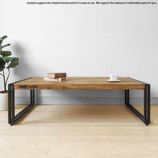 幅120cm オールドチーク材 木製 古材とアイアンを組み合わせた斬新でかっこいいリビングテーブル ローテーブル Lサイズ