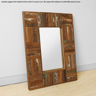 【在庫有り】オールドチーク材 木製 古材とアイアンを組み合わせた斬新でかっこいいウォールミラー 壁掛けミラー 壁掛け鏡 Sサイズ