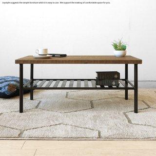 コーヒーテーブル ローテーブル センターテーブル リビングテーブル 幅90cm パイン古材 スチール ビンテージ家具