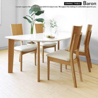 変形ダイニングテーブル 幅140cm 160cm 180cmの3サイズ 光沢のあるホワイトの天板とタモ材のナチュラル脚を組み合わせ BARON-DT