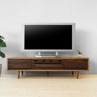 テレビ台 テレビボード 幅125cm タモ材 ウォールナット材 ツートンカラー 角が丸い北欧テイスト タモ無垢材 CRUST-125L