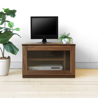 幅60cm ウォールナット材 ウォールナット無垢材 木製テレビ台 ガラス扉のユニットテレビボード ユニット家具