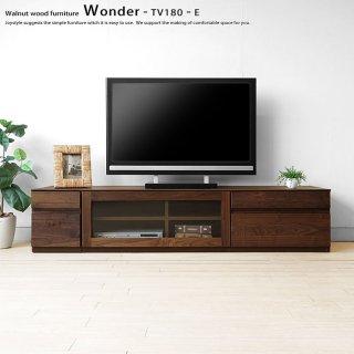 テレビ台 引き出し4杯とガラス扉のユニットテレビボード ユニット家具 開梱設置配送 幅180cm ウォールナット材 ウォールナット無垢材 木製 WONDER-TV180-E※無垢天板は納期30日